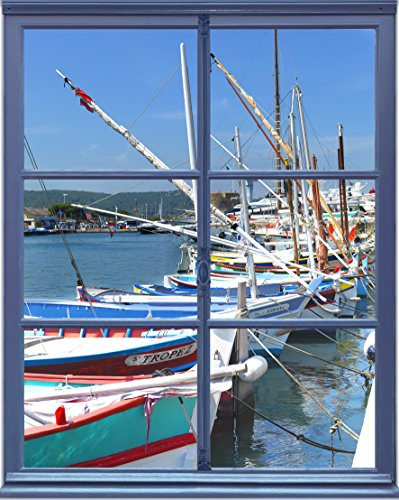 Plage Falsa Ventana Adhesiva Vistas al Puerto, Tela, Multicolor, 75x3x60 cm