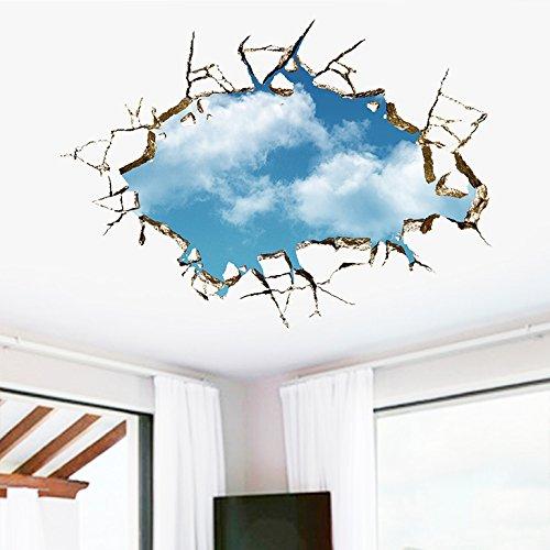 Wandora Wandsticker aufgerissene Decke I (B x H) 70 x 50 cm I Himmel & Wolken Wandaufkleber Wohnzimmer Wandtattoo Schlafzimmer Aufkleber Sticker Wand Riss W1469