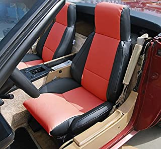 Iggee Chevy Corvette C4 Standard(Base) 1984-1993 Black/RED Artificial Leather Custom Made Original fit seat Cover