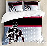 Ambesonne Americana Duvet Cover Set, Baseball American Football Player Running in The Field with The Stars Pattern, Decorative 3 Piece Bedding Set with 2 Pillow Shams, Queen Size, Blue Red