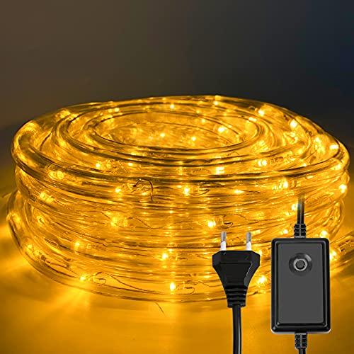 Hoplugge LED Lichterschlauch, Warmweiß 10M 240 LEDs Aussen LED Schlauch mit 8 Modi und Timer, Wasserdicht Lichtschlauch für Außen Innen Garten Party Hochzeit Weihnachts Deko