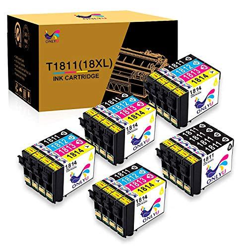 ONLYU Sostituzione cartucce d'inchiostro compatibili per Epson 18XL T1811-T1814 per Epson Expression Home XP-205 XP-215 XP-225 XP 302 XP-305 XP-312 XP-405 XP-412 XP-415 XP-422 (confezione da 20)