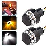 2Pcs Motorcycle LED hand Grip bar end Light Accelerator bulb Handlebar Turn Signal Lamp Yellow and White Two-tone DC 12V Universal