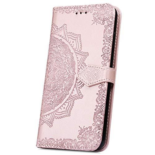 JAWSEU Bloemen Phone Case voor Huawei P Smart 2019 Case portemonnee Mandala Blumen Rose Gold