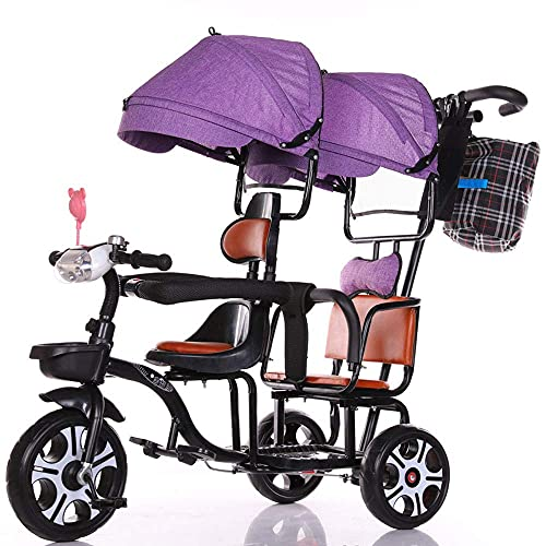 GST Tricicli Spingere Il Triciclo dei Bambini, Il Passeggino della Bicicletta in Tandem per i Gemelli può Cavalcare e Sedere Le Bici a Tre Ruote da Parasole, Rosa ( Color : Purple )