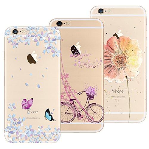 Yokata Cover per iPhone 6S Plus/iPhone 6 Plus, Custodia Silicone TPU Trasparente con Disegni Cover Morbida Ultra Sottile Slim Antiurto Protettiva Case [3 Pack] - Torre Bicicletta + Farfalla + Fiore