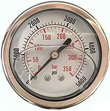 0-5,000 PSI Pressure Gauge, Glycerin Filled, Back Mount, 2-1/2