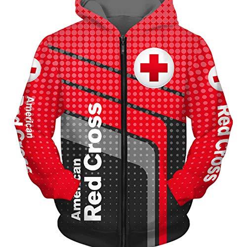 NISHUSHANW 3D Drucken Hoodies,Jacke Leicht Sweatshirt Zum Rotes-Kreuz Unisex Herren Beiläufig Sportkleidung Lose/Rot 2 / 3XL