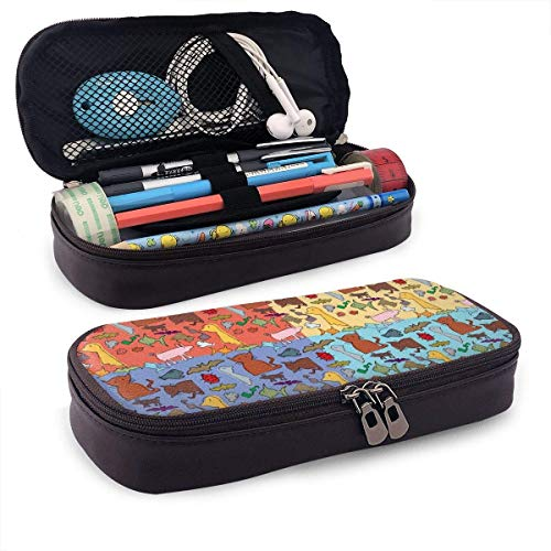 Lawenp Alta capacidad Pretty Color Animal Leather 3D Nanotechnology Printed Pencil Case Pouch Zippered Pen Box School Supply for Students,Big Capacity Stationery Box for Girls Boys and Adults