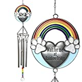 BANBERRY DESIGNS Rainbow Bridge Pet Memorial Windchimes - Wait for Me at Rainbow Bridge Sentiment for Dogs or Cats - Paw Prints Rainbows Blue Sky Design - Approx. 20 Inches Long