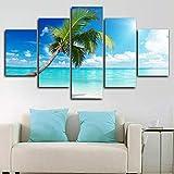 183Tdfc Playa Tropical Palm Tree Islands Impresiones En Lienzo 5 Piezas De Arte De Pared HD Sala De Estar Familiar Moderna Decoración del Hogar Pintura Cartel Regalos Marco-150 * 80Cm