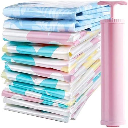 colcha y ropa Juego de 11 bolsas reutilizables de almacenamiento al vac/ío con bomba manual que ahorra espacio bolsa organizadora comprimida para viajes ropa de cama
