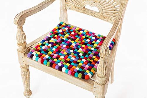 Sitzauflage aus Filzkugeln, bunt, quadratisch, 38 cm, 100% Wolle, handgefertigt