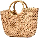 Oiuytghjkl Summer Beach Bag, Bolso de Paja para Mujer, Bolso de Hombro de Paja para Viajes a la Playa y Uso Diario, Amarillo