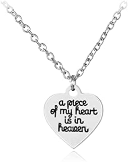 Memorial Necklace Jewelry Gifts A Piece of My Heart is in The Heaven Pendant in Memory of Family Friend Pet Loss Sympathy Memorial Gift