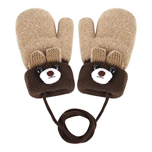 Jungen/Mädchen-Fäustlinge mit Nackenband, süßes Cartoon-Design, mit dickem Fleece-Futter, warme Fingerhandschuhe, warme Ski-Handschuhe, für Kinder von 0 bis 3 Jahren Gr. One Size, beige