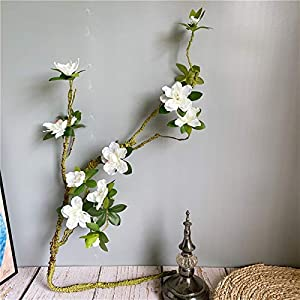 Silk Flower Arrangements Fake Flower Long Large White Azalea Branch, Easy to Shape Artificial Flowers with Fake Leaves Silk+Foam Flores for Home Wedding Decor Artificial Roses Flower (Color : White)