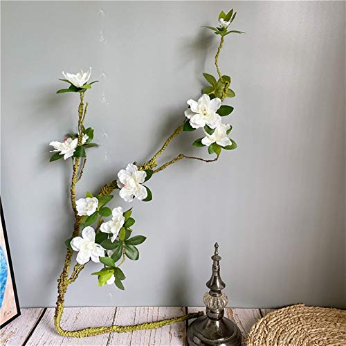 SJHQ Flor Preservada Larga Rama de Azalea Blanca Larga, Flores Artificiales fáciles de Forma con Hojas Falsas de Seda + Espuma Flores para la decoración de la Boda del hogar Flor Artificial