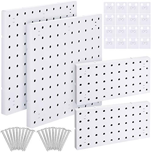 4 Pieces Pegboard Wall Panel Kits Pegboard Wall Mount Display DIY Pegboard Tool Organizer with Accessories, 2 Installation Methods to The Wall for Garage Kitchen Bathroom Office (White)