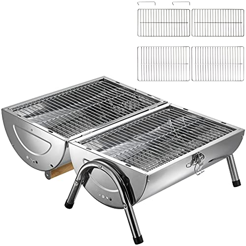5169PsIVc1S. SL500  - TecTake Edelstahl BBQ Grill mit großer Doppelgrillfläche Holzkohlegrill Grilltonne Silber