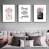 TZZXYXGS 3 Stück Wandbilder Mode Wandkunst Gemälde Rosa