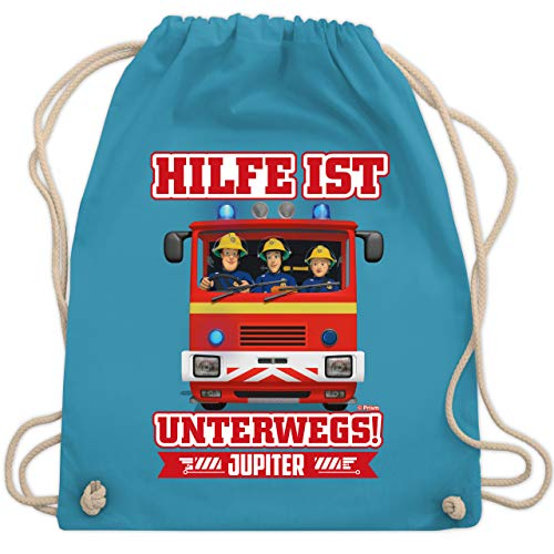 Shirtracer Feuerwehrmann Sam Tasche - Hilfe ist Unterwegs - Sam & Jupiter - Unisize - Hellblau - Hilfe ist unterwegs - WM110 - Turnbeutel und Stoffbeutel aus Baumwolle