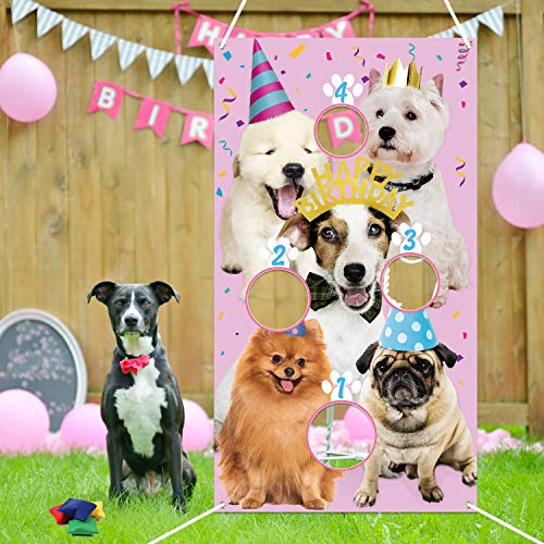 PANTIDE Puppy Birthday Toss Games Banner with 4 Bean Bags - Fun Indoor Outdoor Party Game Activities for Kids and Adults, Puppy Birthday Themed Throwing Games Party Decoration Supplies Set