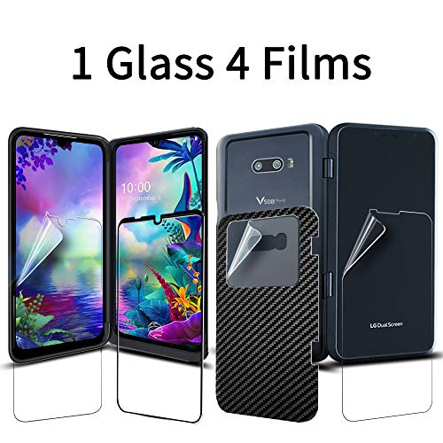 Price comparison product image [1SET] [5PCS] GOBUKEE LG G8X ThinQ Screen Protector [Work with the LG Dual Screen] [1 Full Coverage Tempered Glass] [4 Protective Films] for LG G8X ThinQ / LG V50S ThinQ 9H Hardness Anti-Scratch No-Bubble