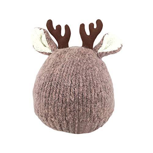 Gorro de Navidad unisex con diseño de cuernos de reno talla única caqui