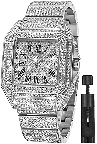 Fashion Hip Hop Men's Crystal Watch Bling Bling Iced Out Watch Rectangle Case Stainless Steel Quartz Analog Bracelet Wristwatch (Silver)