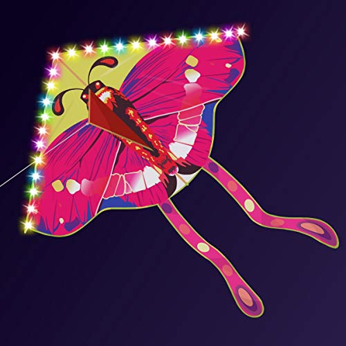 KUQU Butterfly Kite, Color Butterfly Luminous LED Kite, Easy-to-Fly Cartoon Flying Saucer Kite for Adults and Children, The Best Choice for Beach, Holiday Activities and Outdoor Sports