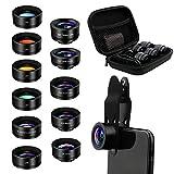AFAITH 11-in-1 Objektiv Kit für Telefone, Zoom Universal Teleobjektiv 2X, 120 ° Weitwinkel, 20X Makro, Kaleidoskop/CPL/Starburst/4 Farb-UV-Filter für Smartphone iPhone XS Max 8 Plus Galaxy S10 S9 S8 -