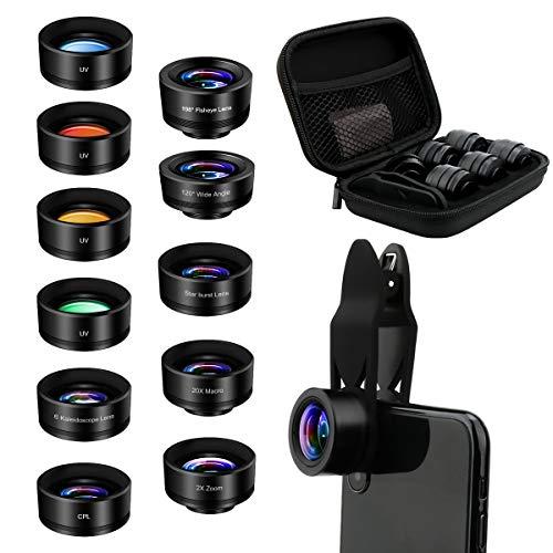 AFAITH Lentes para Moviles Kit,11 en 1 Lentes de Cámara para Teléfono,Lente Ojo de Pez de 198°,Gran Angular,Macro 20X ,Caleidoscopio,Cuatro filtros de color,teleobjetivo,CPL para iPhone,Android