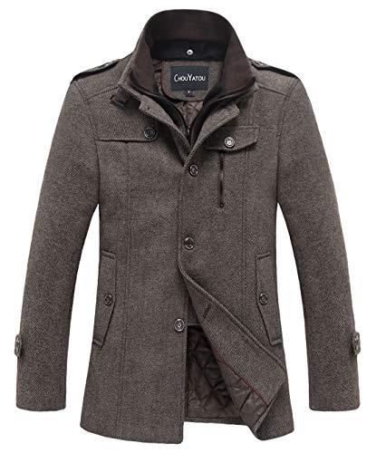 chouyatou Men's Winter Stylish Wool Blend Single Breasted Military Peacoat (Small, Thick-Khaki)