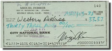 MIGUEL FERRER RoboCop - Note Award Check Bank Signed Quality inspection