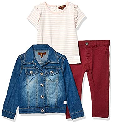 7 For All Mankind Baby Girls Denim, T-Shirt and Jean Set, Medium Wash, 24M