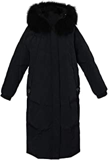 Down Jacket Puffer Long Coat Parka with Fur Trimmed Hood Winter Waterproof Rain Thickened Coats for Women,Black,M