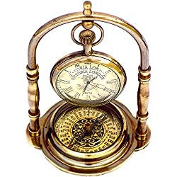 JD'Z COLLECTION Vintage Brass Desk Clock and Shelf Clock Display Stand Antique Compass London Pocket Watch Directional for Bedroom, Kitchen Decorative Art