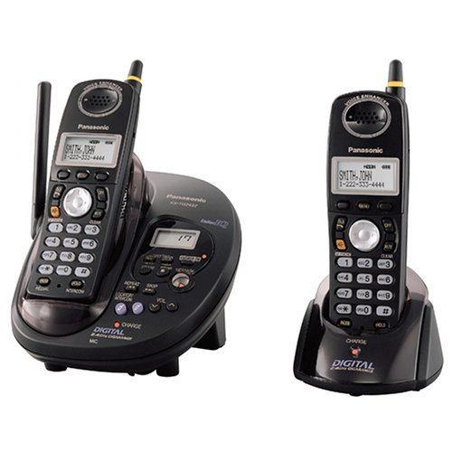Panasonic GigaRange KX-TG2432B 2.4 GHz DSS Cordless Phone with Dual Handsets and Answering System (Black)