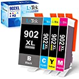 LxTek Compatible Ink Cartridge Replacement for HP 902XL 902 902 XL Ink Cartridge to use with Officejet 6978 6958 6968 6954 Printer (Black, Cyan, Magenta, Yellow, 4 Pack)