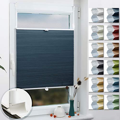Grandekor Wabenplissee Pliseerollos für Fenster ohne Bohren Verdunklung Zweifarbig 50x140cm (BxH) Weiß-Blau (Metallzubehör) / Honeycomb Plissee Klemmfix, Sonnen- & Sichtschutz Wärmeisolierung