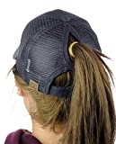 C.C Ponycap Messy High Bun Ponytail Adjustable Mesh Trucker Baseball Cap Hat, Charcoal