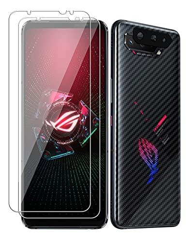 GIOPUEY [2+1+2 Pack Cristal Templado&Protector Cámara&Protector Trasero Compatible con ASUS ROG Phone 5 Pro [Amistoso con Funda] Anti Rrayas&Deslizante (Transparente)