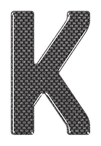 3D Resin/Gel Domed Self Adhesive Number Plate Letter 'K' (Carbon)