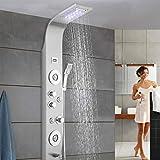 Panel de Ducha LED,Columna de Hidromasaje Ducha de Acero Inoxidable, con Pantalla LCD Moderna 5 Función Cascada Ducha...