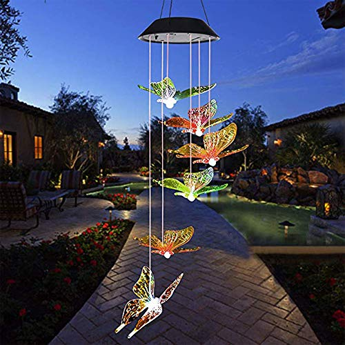 ATopoler Solar Wind Chimes Lights with Bells Colorful Changing Wind Chime Lamp Outdoor Solar Garden Lights Romantic Hanging Decorative Lights for Yard Patio Home Christmas Decor (Colorful Butterfly)