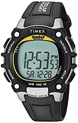 commercial Timex T5E231 Iron Man Classic 100 Men's Watch with Black / Yellow Resin Strap timex ironman watch