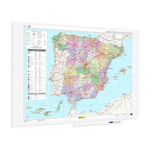 OFITURIA Mapa de España Superficie Magnetica Sin Marco Medida 150X100cm