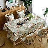 Pahajim Elegante Diseño de Estampado Floral Mantel Antimanchas Rectangular Impermeable Inicio Cocina Cena Picnic Mantel Decoración(Cuadrado,140x140cm)