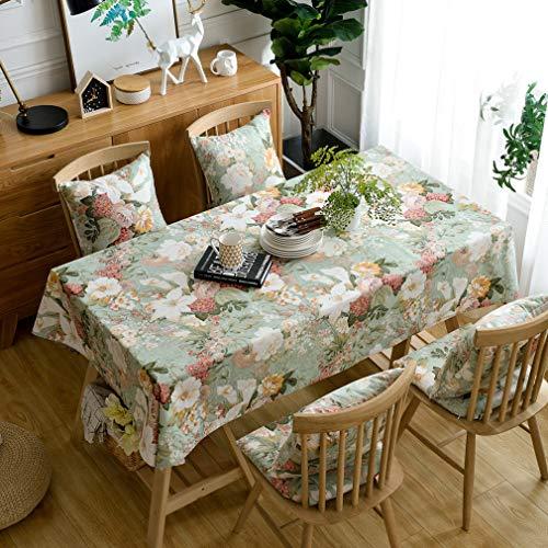 Pahajim Elegante Diseño de Estampado Floral Mantel Antimanchas Rectangular Impermeable Inicio Cocina Cena Picnic Mantel Decoración(Rectangular/Oval,140x260cm)